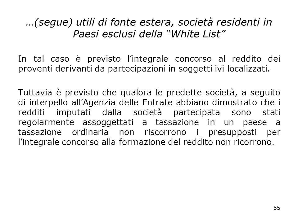 55 …(segue) utili di fonte estera, società residenti in Paesi esclusi della White List In tal caso è previsto lintegrale concorso al reddito dei prove