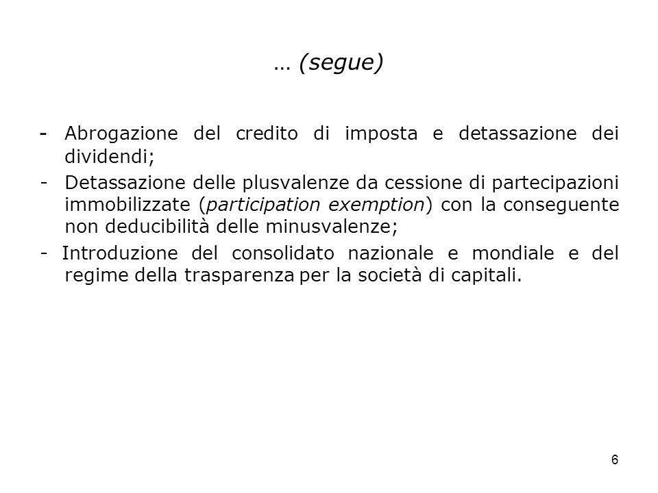 6 … (segue) - Abrogazione del credito di imposta e detassazione dei dividendi; - Detassazione delle plusvalenze da cessione di partecipazioni immobili