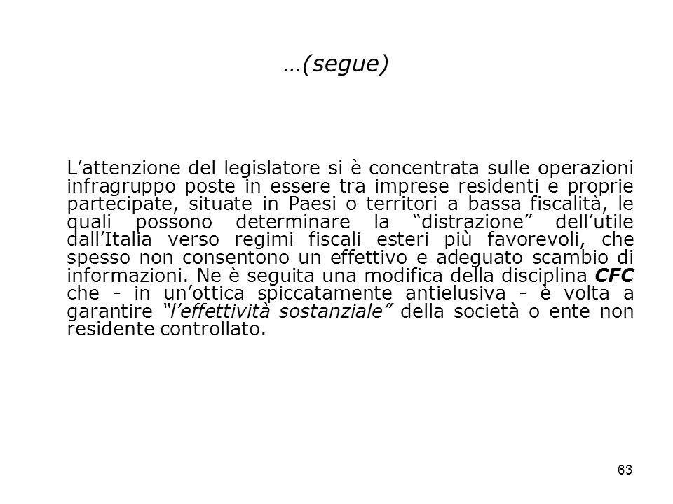 63 …(segue) Lattenzione del legislatore si è concentrata sulle operazioni infragruppo poste in essere tra imprese residenti e proprie partecipate, sit