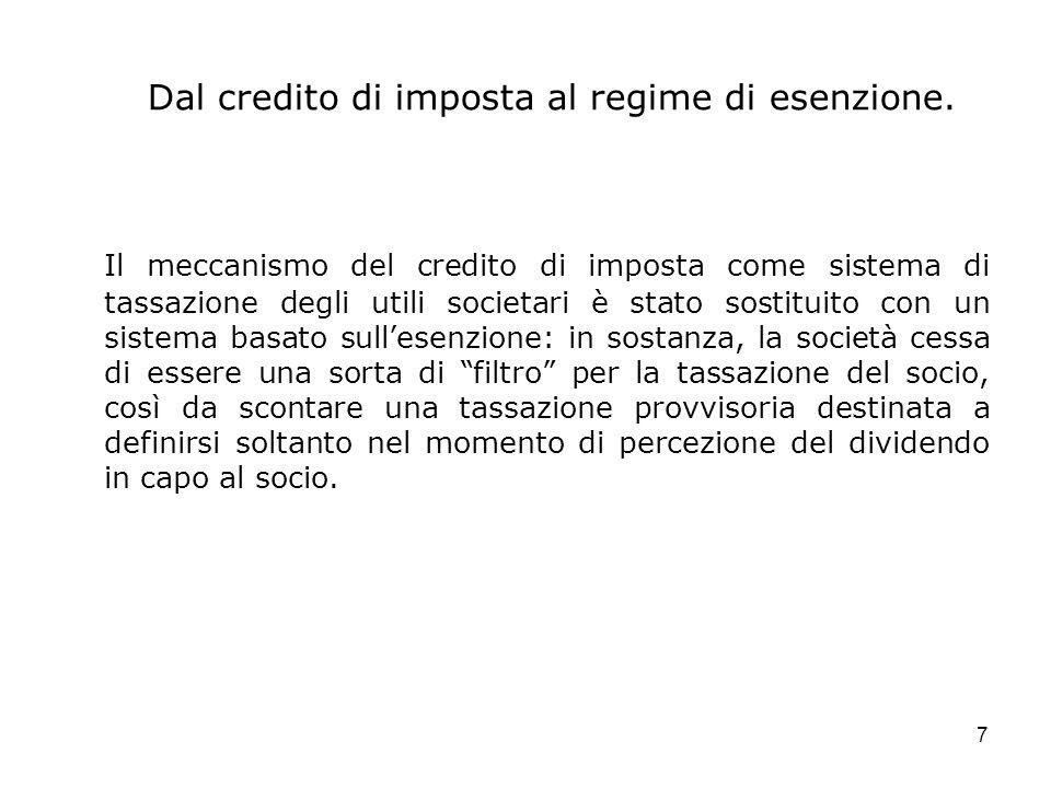 7 Dal credito di imposta al regime di esenzione. Il meccanismo del credito di imposta come sistema di tassazione degli utili societari è stato sostitu