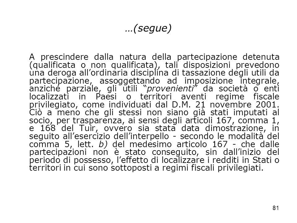 81 …(segue) A prescindere dalla natura della partecipazione detenuta (qualificata o non qualificata), tali disposizioni prevedono una deroga allordina