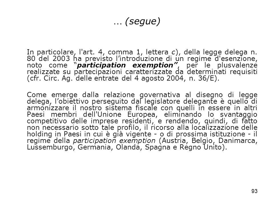 93 … (segue) In particolare, l'art. 4, comma 1, lettera c), della legge delega n. 80 del 2003 ha previsto lintroduzione di un regime d'esenzione, noto