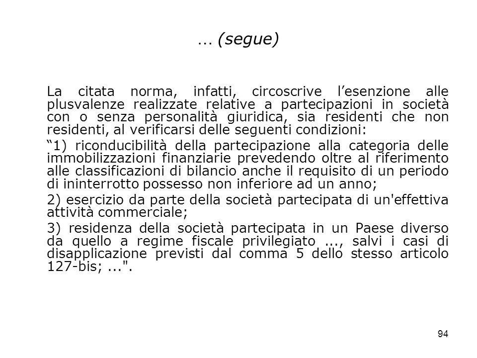 94 … (segue) La citata norma, infatti, circoscrive lesenzione alle plusvalenze realizzate relative a partecipazioni in società con o senza personalità