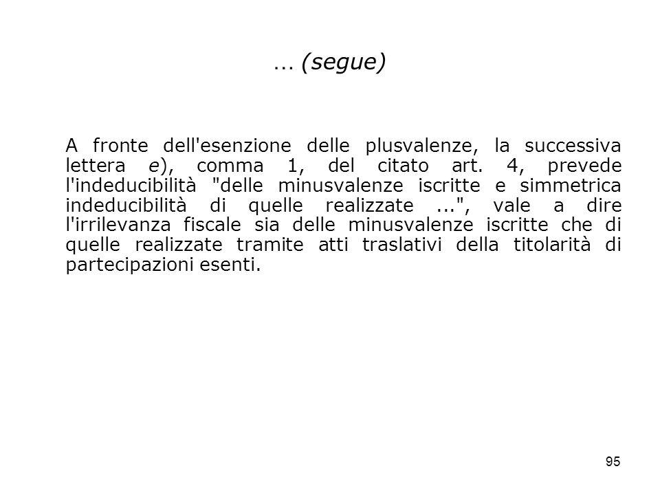 95 … (segue) A fronte dell'esenzione delle plusvalenze, la successiva lettera e), comma 1, del citato art. 4, prevede l'indeducibilità