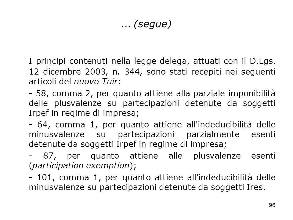 96 … (segue) I principi contenuti nella legge delega, attuati con il D.Lgs. 12 dicembre 2003, n. 344, sono stati recepiti nei seguenti articoli del nu