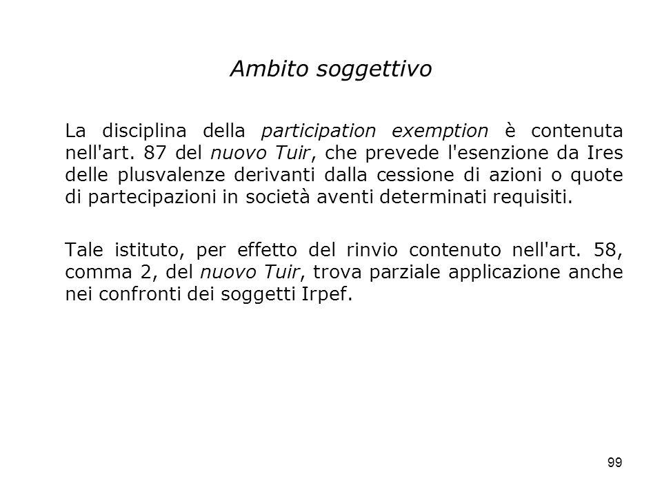 99 Ambito soggettivo La disciplina della participation exemption è contenuta nell'art. 87 del nuovo Tuir, che prevede l'esenzione da Ires delle plusva