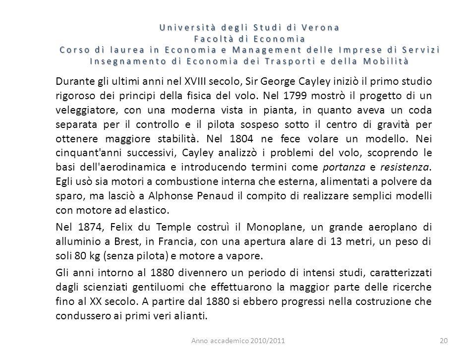 21 Università degli Studi di Verona Facoltà di Economia Corso di laurea in Economia e Management delle Imprese di Servizi Insegnamento di Economia dei Trasporti e della Mobilità Anno accademico 2010/2011 Il tedesco Otto Lilienthal duplicò il lavoro di Wenham e lo ampliò grandemente nel 1874, pubblicando le sue ricerche nel 1889.