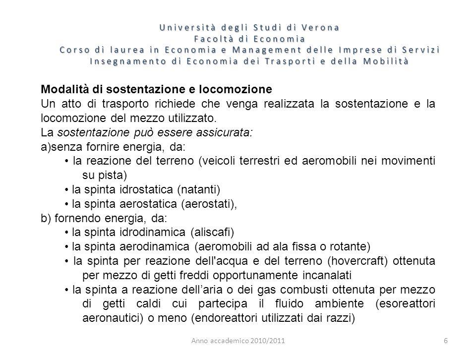 7 Università degli Studi di Verona Facoltà di Economia Corso di laurea in Economia e Management delle Imprese di Servizi Insegnamento di Economia dei Trasporti e della Mobilità Anno accademico 2010/2011 La locomozione viene realizzata sempre mediante l energia fornita da un motore ad un propulsore.