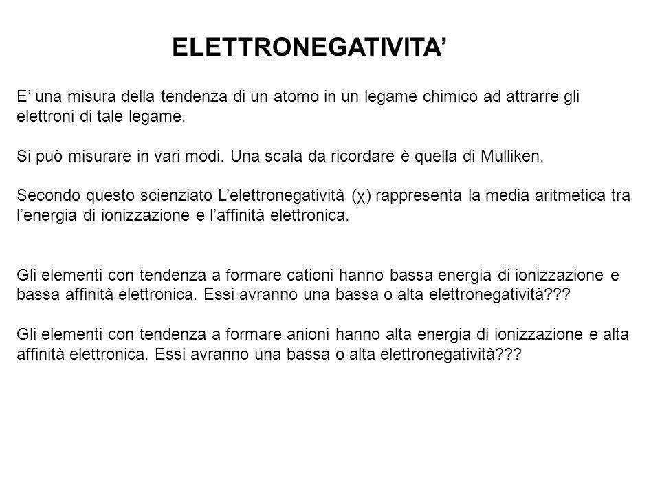 ELETTRONEGATIVITA E una misura della tendenza di un atomo in un legame chimico ad attrarre gli elettroni di tale legame. Si può misurare in vari modi.