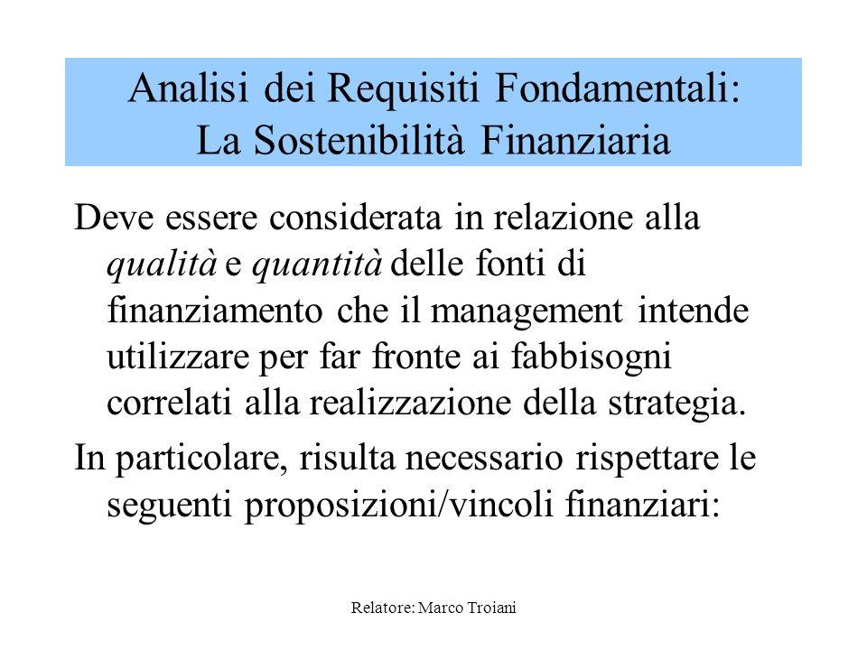 Relatore: Marco Troiani A tali Requisiti Fondamentali pertanto si dovranno informare tutte le attività del management in sede di predisposizione del P