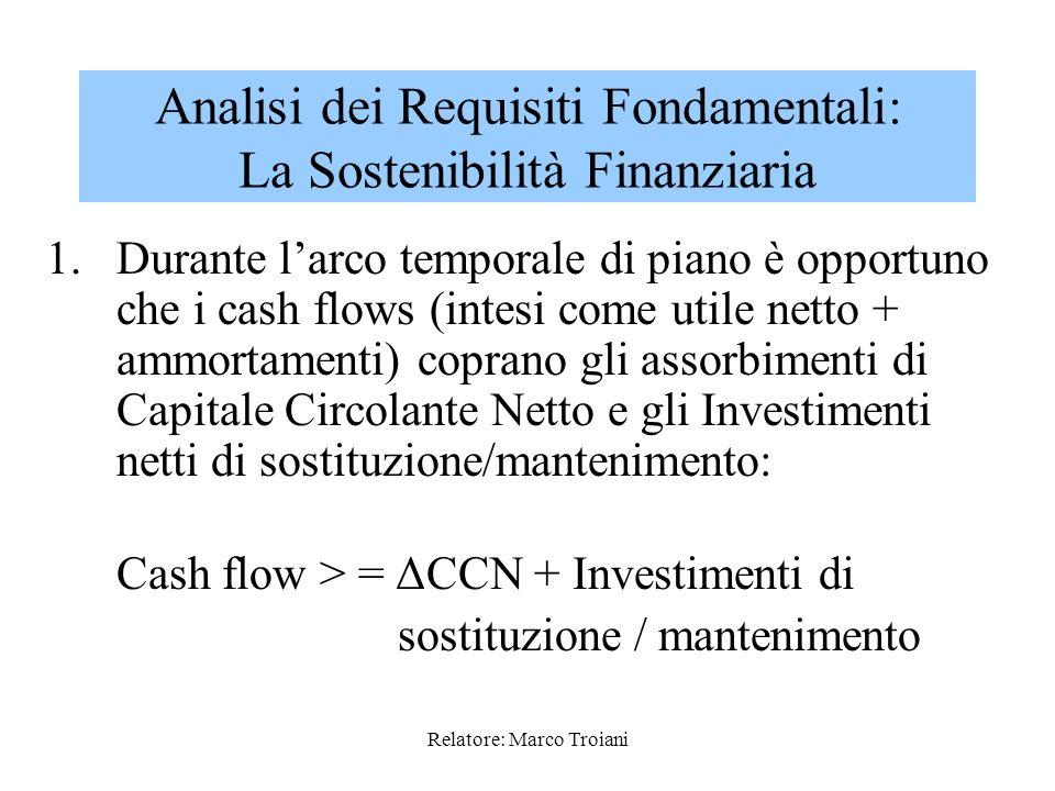 Relatore: Marco Troiani Deve essere considerata in relazione alla qualità e quantità delle fonti di finanziamento che il management intende utilizzare