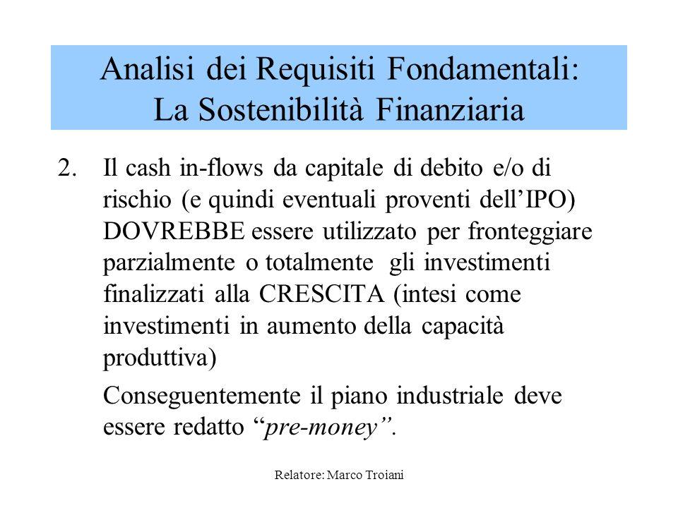 Relatore: Marco Troiani 1.Durante larco temporale di piano è opportuno che i cash flows (intesi come utile netto + ammortamenti) coprano gli assorbime