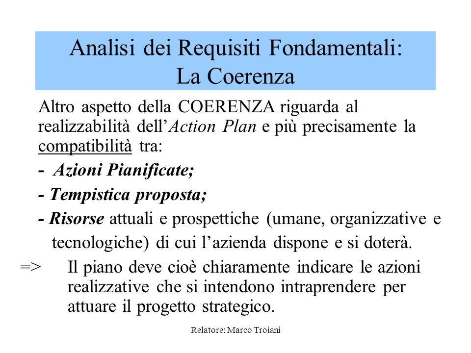Relatore: Marco Troiani E un requisito interno del piano che si manifesta allorquando tutte le componenti: -Strategia realizzata; -Realtà aziendale di
