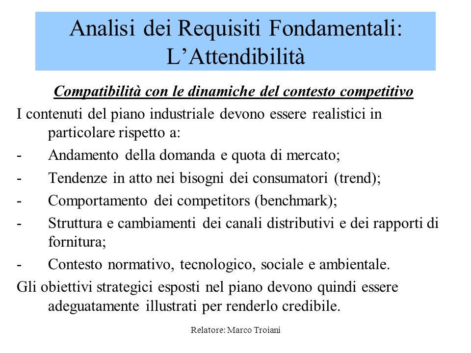 Relatore: Marco Troiani La fondatezza delle ipotesi va verificata rispetto alle seguenti condizioni: 1.Compatibilità con le dinamiche del contesto com