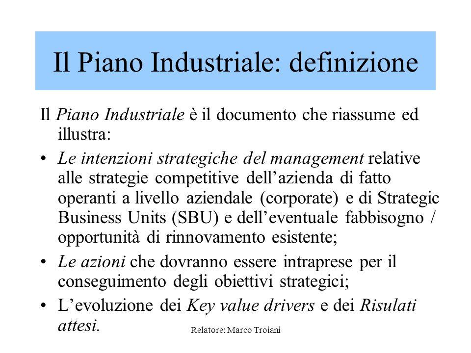 Relatore: Marco Troiani Il Piano Industriale: definizione Specificazione Terminologica. Business Plan e Piano Industriale sono utilizzati come sinonim