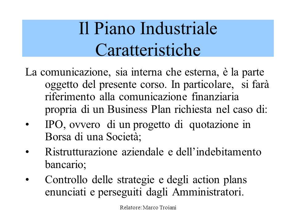 Relatore: Marco Troiani La valenza comunicativa del Business Plan / Piano industriale può essere: ESTERNA ESTERNA quando rivolta a potenziali investit