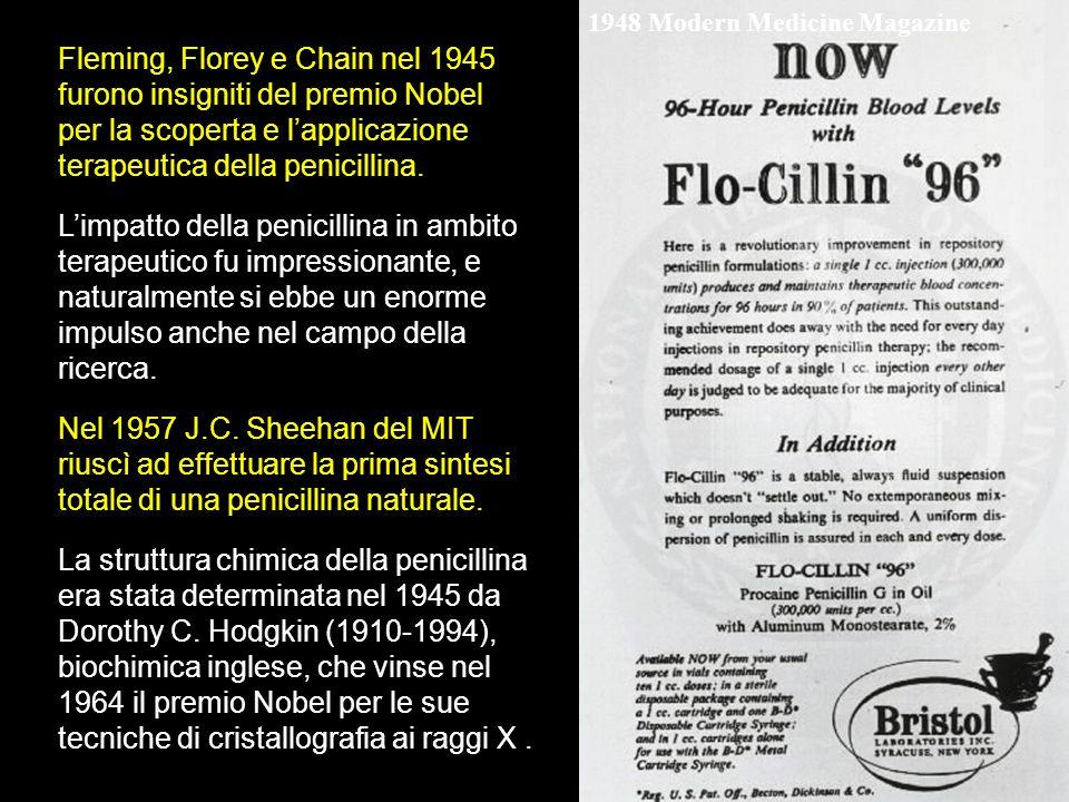 1948 Modern Medicine Magazine Limpatto della penicillina in ambito terapeutico fu impressionante, e naturalmente si ebbe un enorme impulso anche nel c