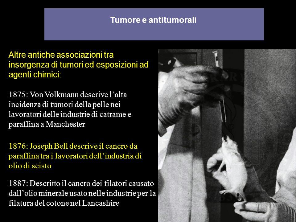 Tumore e antitumorali 1875: Von Volkmann descrive lalta incidenza di tumori della pelle nei lavoratori delle industrie di catrame e paraffina a Manche