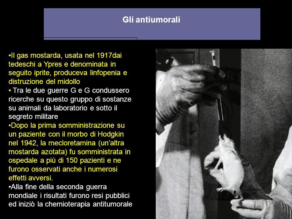 Gli antiumorali Il gas mostarda, usata nel 1917dai tedeschi a Ypres e denominata in seguito iprite, produceva linfopenia e distruzione del midollo Tra