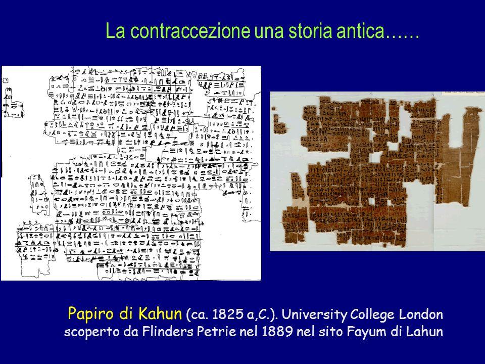 Papiro di Kahun (ca. 1825 a,C.). University College London scoperto da Flinders Petrie nel 1889 nel sito Fayum di Lahun La contraccezione una storia a
