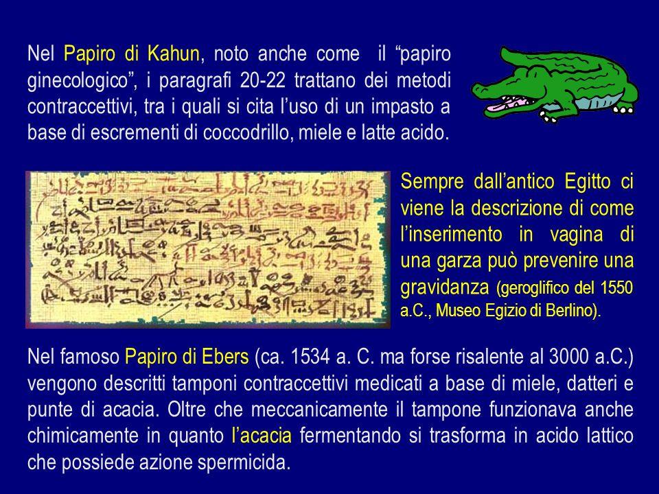 Nel Papiro di Kahun, noto anche come il papiro ginecologico, i paragrafi 20-22 trattano dei metodi contraccettivi, tra i quali si cita luso di un impa