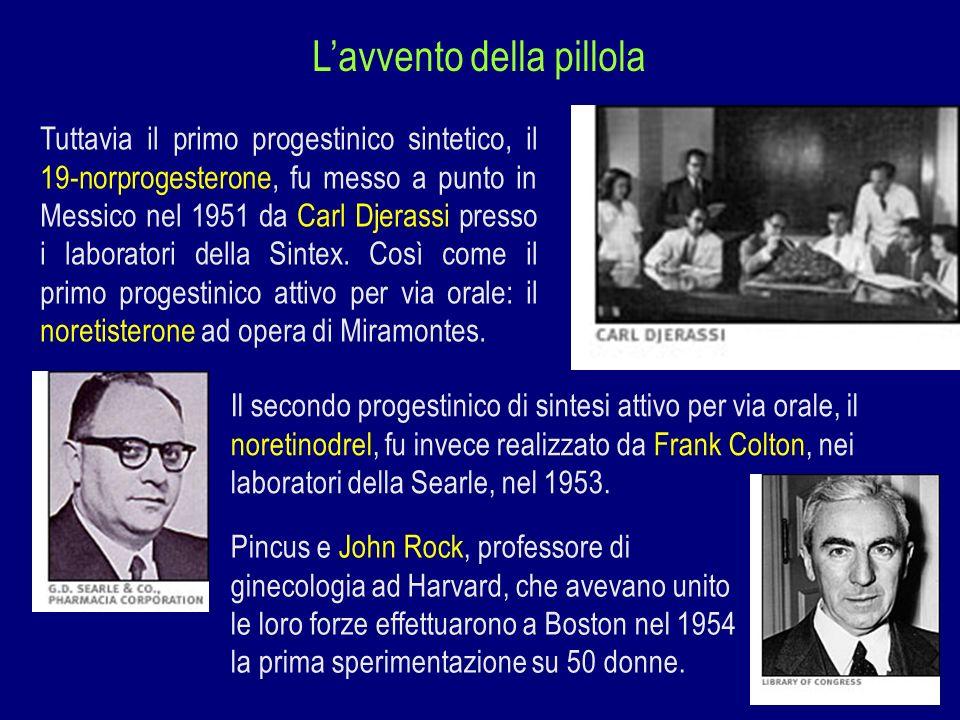 Lavvento della pillola Tuttavia il primo progestinico sintetico, il 19-norprogesterone, fu messo a punto in Messico nel 1951 da Carl Djerassi presso i