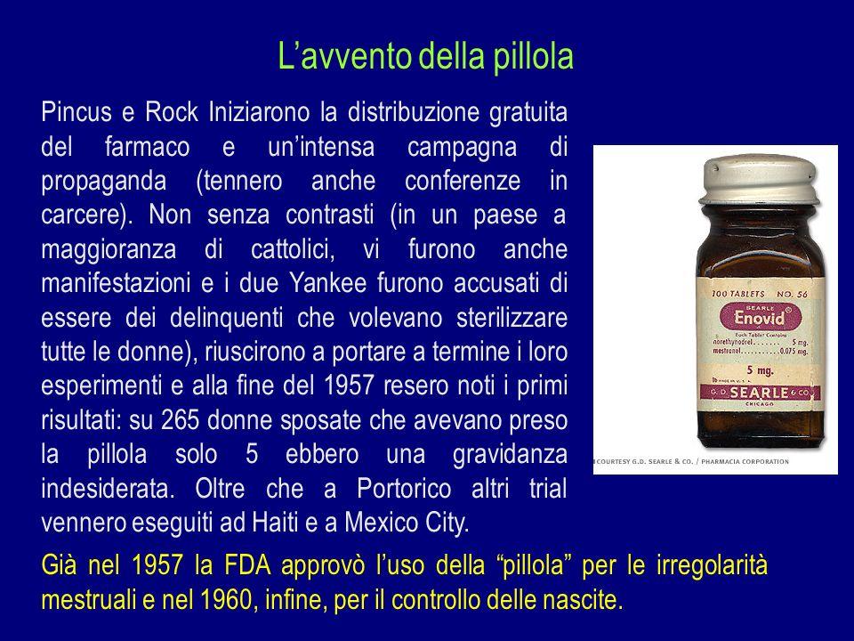Lavvento della pillola Pincus e Rock Iniziarono la distribuzione gratuita del farmaco e unintensa campagna di propaganda (tennero anche conferenze in