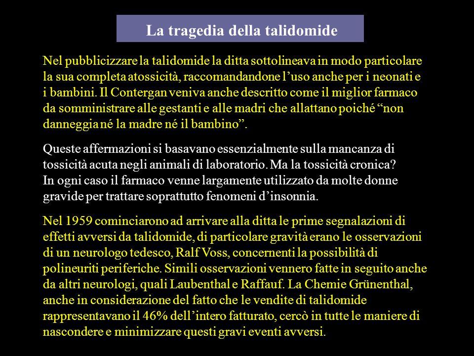 La tragedia della talidomide Nel pubblicizzare la talidomide la ditta sottolineava in modo particolare la sua completa atossicità, raccomandandone lus