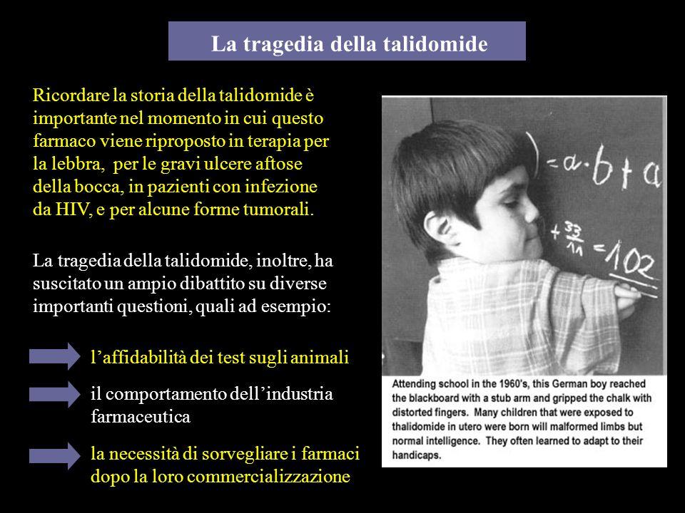 La tragedia della talidomide La tragedia della talidomide, inoltre, ha suscitato un ampio dibattito su diverse importanti questioni, quali ad esempio: