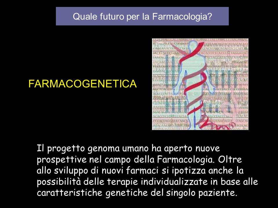 Quale futuro per la Farmacologia? FARMACOGENETICA Il progetto genoma umano ha aperto nuove prospettive nel campo della Farmacologia. Oltre allo svilup
