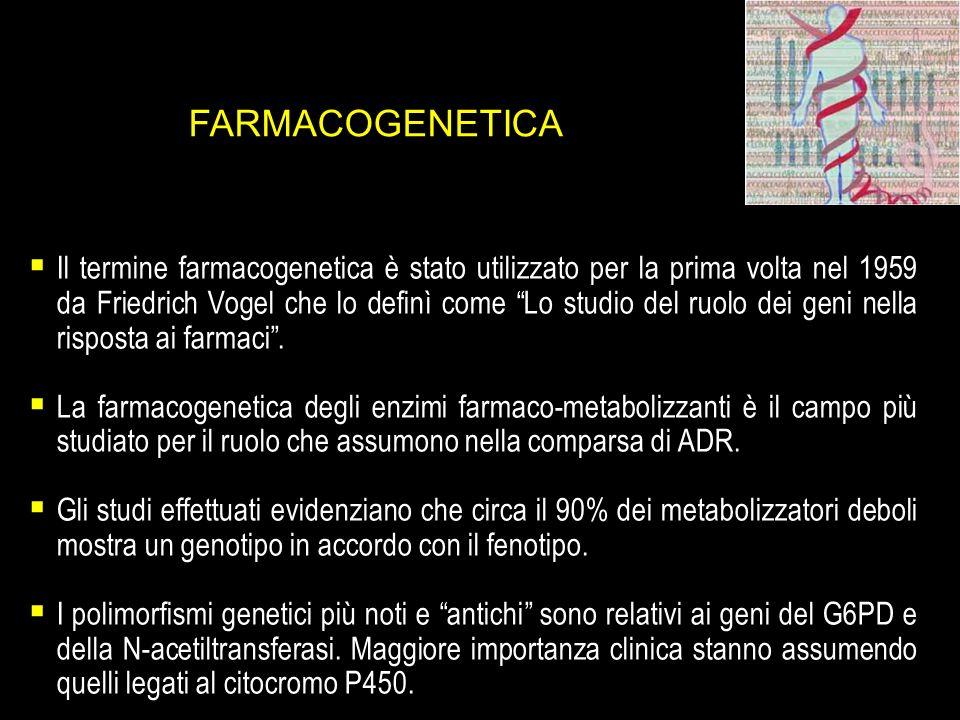 FARMACOGENETICA Il termine farmacogenetica è stato utilizzato per la prima volta nel 1959 da Friedrich Vogel che lo definì come Lo studio del ruolo de