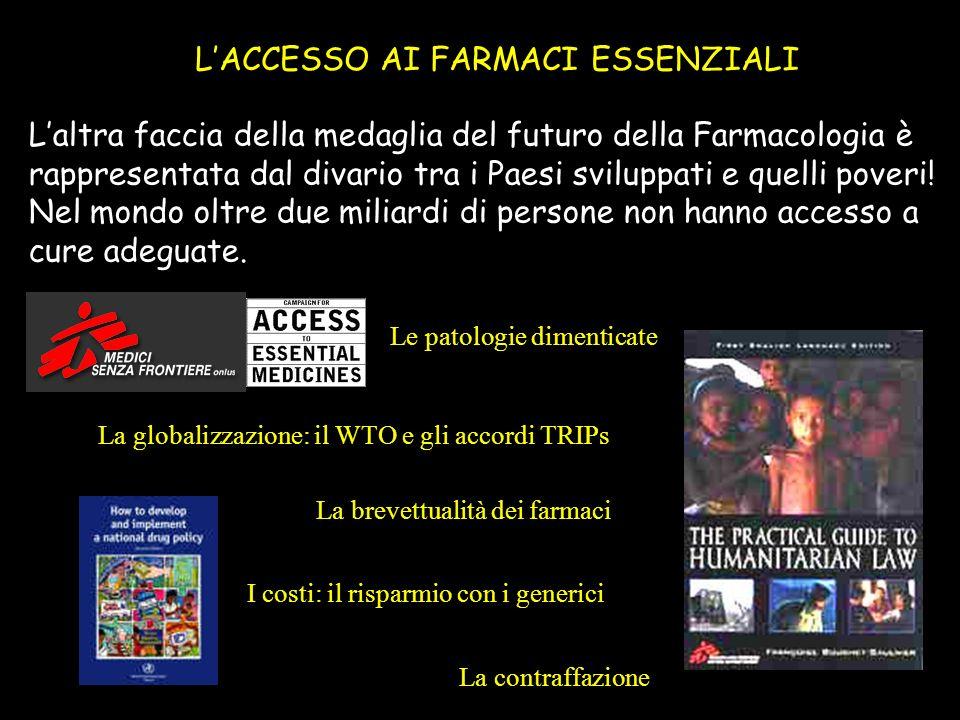 LACCESSO AI FARMACI ESSENZIALI Laltra faccia della medaglia del futuro della Farmacologia è rappresentata dal divario tra i Paesi sviluppati e quelli