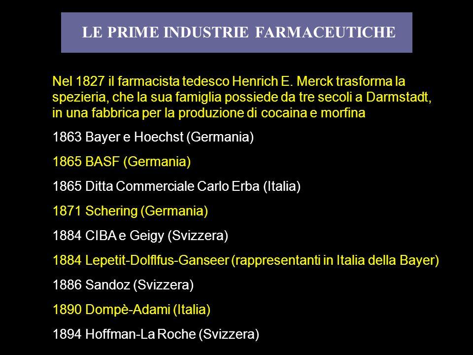 LE PRIME INDUSTRIE FARMACEUTICHE Nel 1827 il farmacista tedesco Henrich E. Merck trasforma la spezieria, che la sua famiglia possiede da tre secoli a