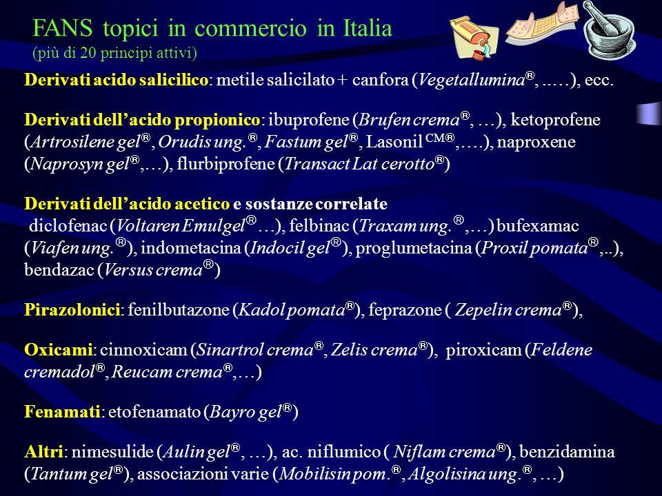 Derivati acido salicilico: metile salicilato + canfora (Vegetallumina,..…), ecc. Derivati dellacido propionico: ibuprofene (Brufen crema, …), ketoprof