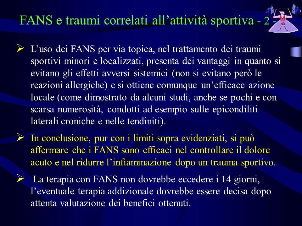 FANS e traumi correlati allattività sportiva - 2 - Luso dei FANS per via topica, nel trattamento dei traumi sportivi minori e localizzati, presenta de