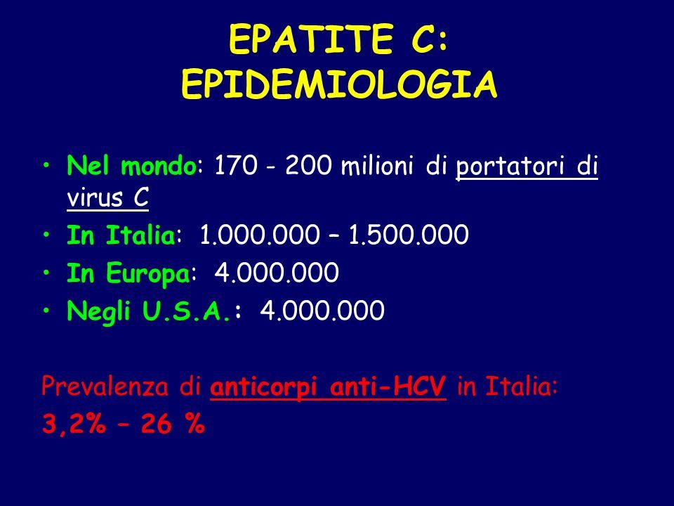 EPATITE C: EPIDEMIOLOGIA Nel mondo: 170 - 200 milioni di portatori di virus C In Italia: 1.000.000 – 1.500.000 In Europa: 4.000.000 Negli U.S.A.: 4.00