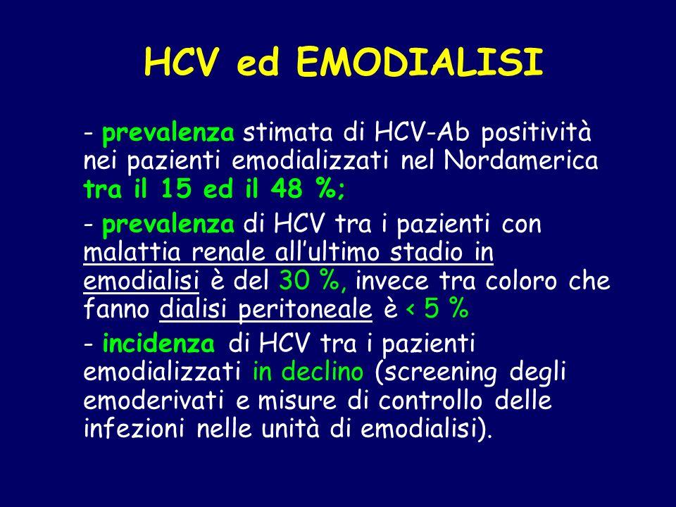 HCV ed EMODIALISI - prevalenza stimata di HCV-Ab positività nei pazienti emodializzati nel Nordamerica tra il 15 ed il 48 %; - prevalenza di HCV tra i
