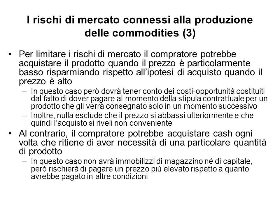 I rischi di mercato connessi alla produzione delle commodities (3) Per limitare i rischi di mercato il compratore potrebbe acquistare il prodotto quan