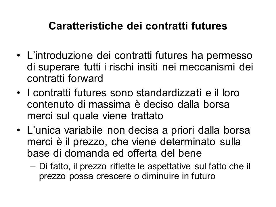 Caratteristiche dei contratti futures Lintroduzione dei contratti futures ha permesso di superare tutti i rischi insiti nei meccanismi dei contratti f
