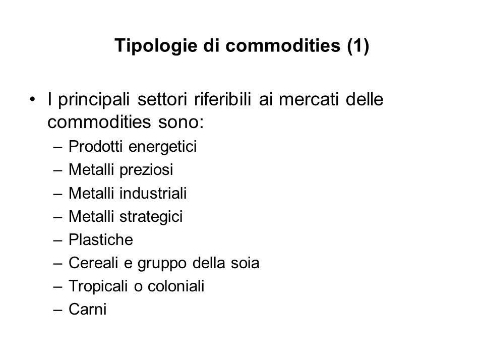 Tipologie di commodities (1) I principali settori riferibili ai mercati delle commodities sono: –Prodotti energetici –Metalli preziosi –Metalli indust