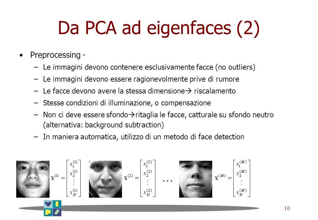 10 Da PCA ad eigenfaces (2) Preprocessing - –Le immagini devono contenere esclusivamente facce (no outliers) –Le immagini devono essere ragionevolment