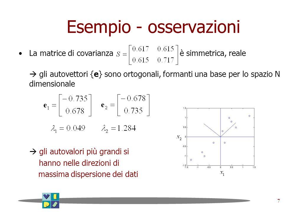 7 Esempio - osservazioni La matrice di covarianza è simmetrica, reale gli autovettori {e} sono ortogonali, formanti una base per lo spazio N dimension
