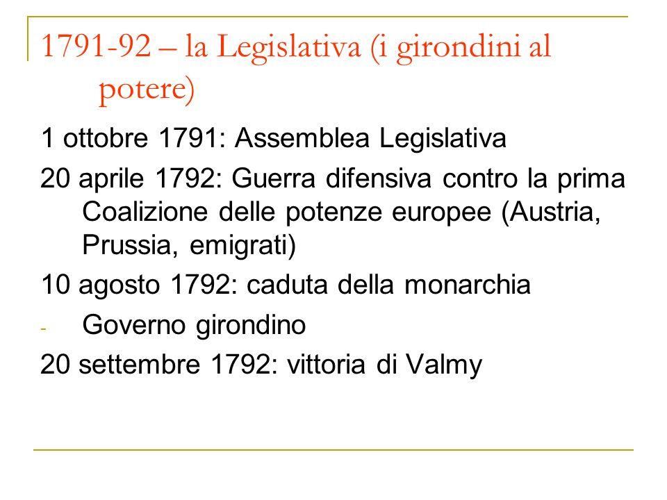 1791-92 – la Legislativa (i girondini al potere) 1 ottobre 1791: Assemblea Legislativa 20 aprile 1792: Guerra difensiva contro la prima Coalizione delle potenze europee (Austria, Prussia, emigrati) 10 agosto 1792: caduta della monarchia - Governo girondino 20 settembre 1792: vittoria di Valmy