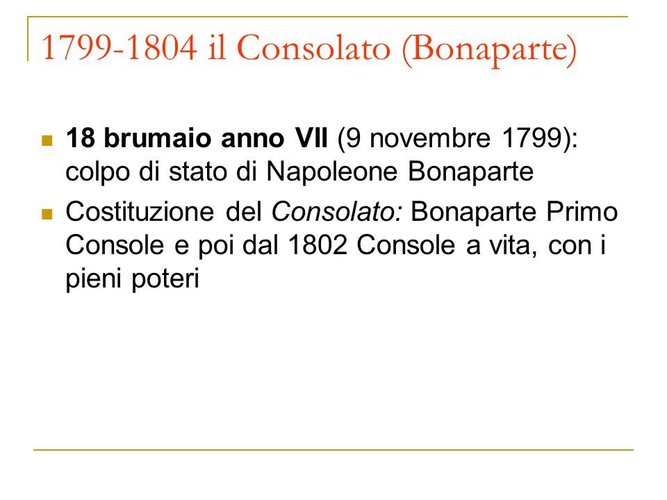 1799-1804 il Consolato (Bonaparte) 18 brumaio anno VII (9 novembre 1799): colpo di stato di Napoleone Bonaparte Costituzione del Consolato: Bonaparte Primo Console e poi dal 1802 Console a vita, con i pieni poteri