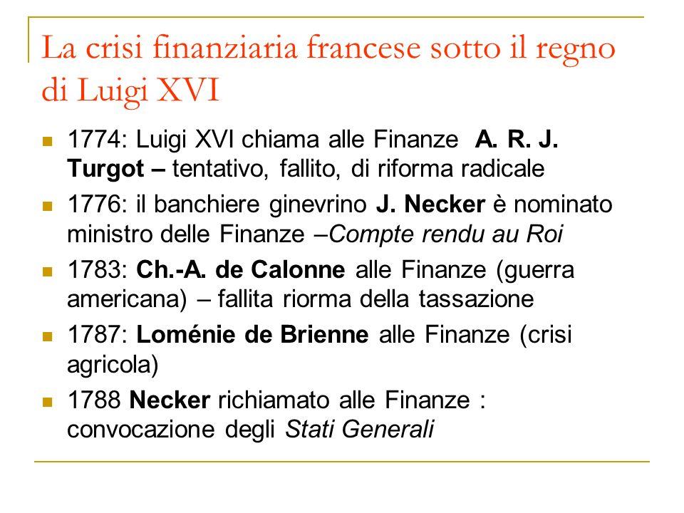 La crisi finanziaria francese sotto il regno di Luigi XVI 1774: Luigi XVI chiama alle Finanze A. R. J. Turgot – tentativo, fallito, di riforma radical