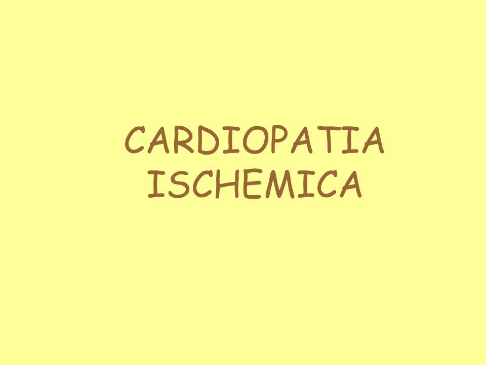 FISIOPATOLOGIA Il flusso di sangue attraverso le coronarie è influenzato da fattori: Anatomici: grossi vasi epicardici = vasi di capacitanza piccoli vasi intramiocardici = vasi di resistenza Emodinamici: il flusso coronarico dipende da: pressione di perfusione resistenza offerta variazioni fasiche intramiocardiche Meccanici: presenza di stenosi e/o restringimenti Metabolici: fibre adrenergiche e parasimpatiche; EDRF; endotelina