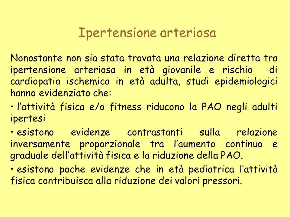 Ipertensione arteriosa Nonostante non sia stata trovata una relazione diretta tra ipertensione arteriosa in età giovanile e rischio di cardiopatia isc