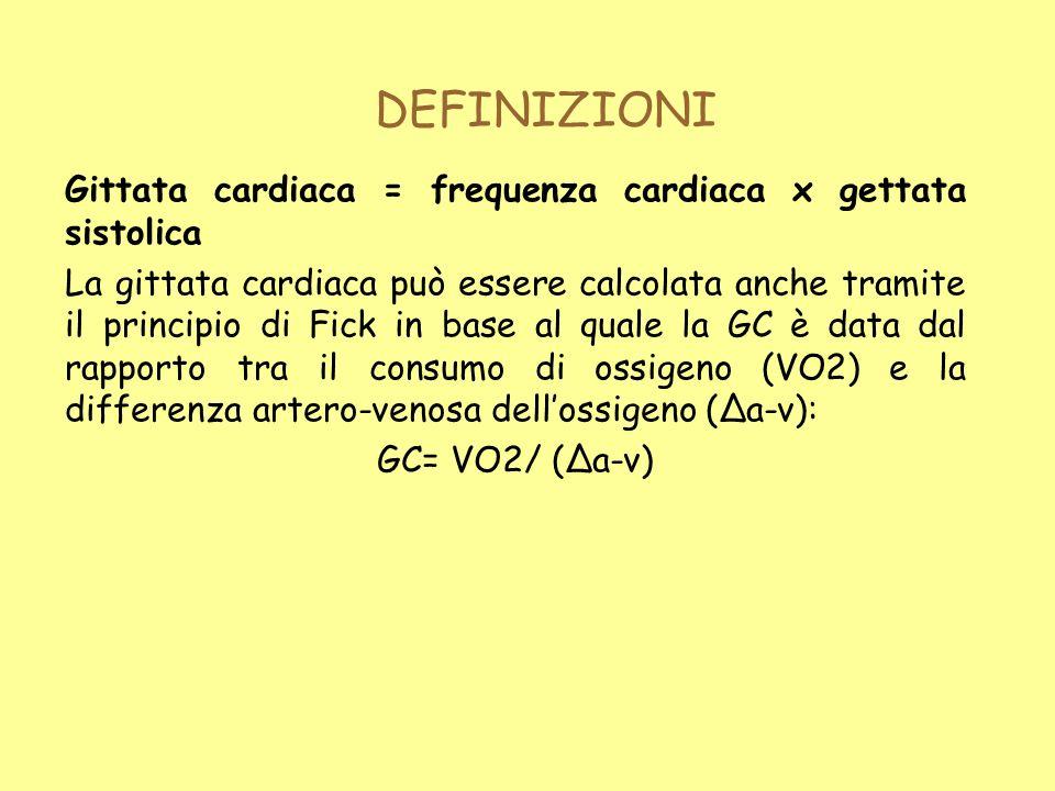DEFINIZIONI Gittata cardiaca = frequenza cardiaca x gettata sistolica La gittata cardiaca può essere calcolata anche tramite il principio di Fick in b
