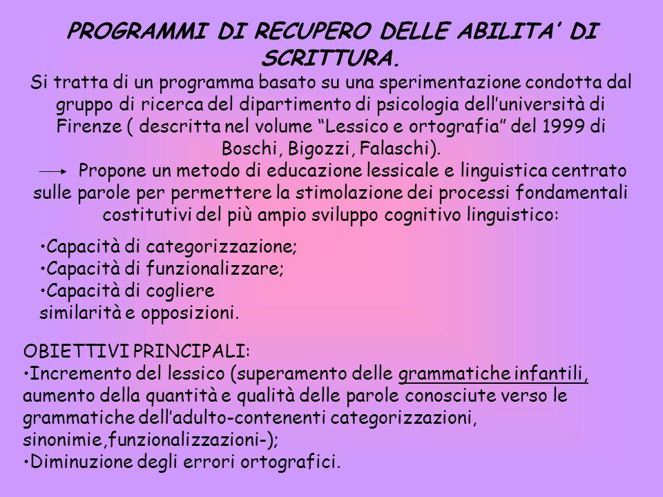 PROGRAMMI DI RECUPERO DELLE ABILITA DI SCRITTURA.