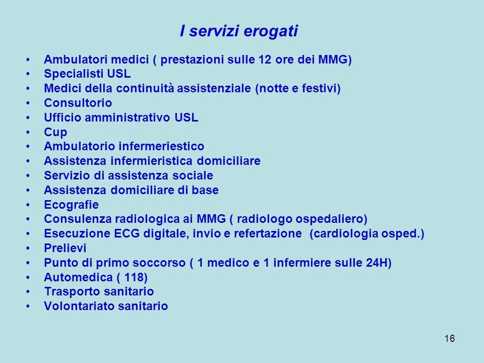16 I servizi erogati Ambulatori medici ( prestazioni sulle 12 ore dei MMG) Specialisti USL Medici della continuità assistenziale (notte e festivi) Con